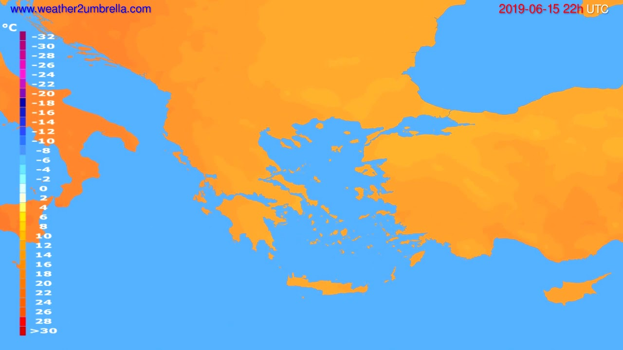 Temperature forecast Greece // modelrun: 12h UTC 2019-06-13