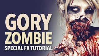 Gory zombie special fx makeup tutorial