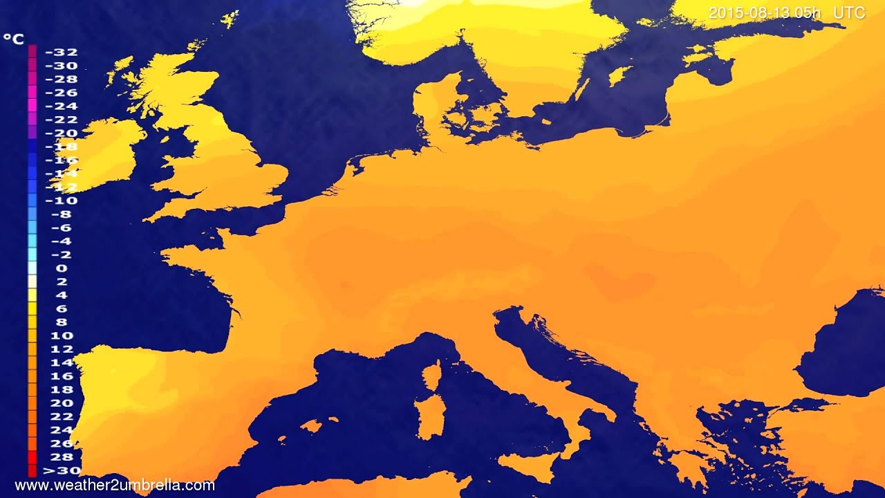 Temperature forecast Europe 2015-08-10