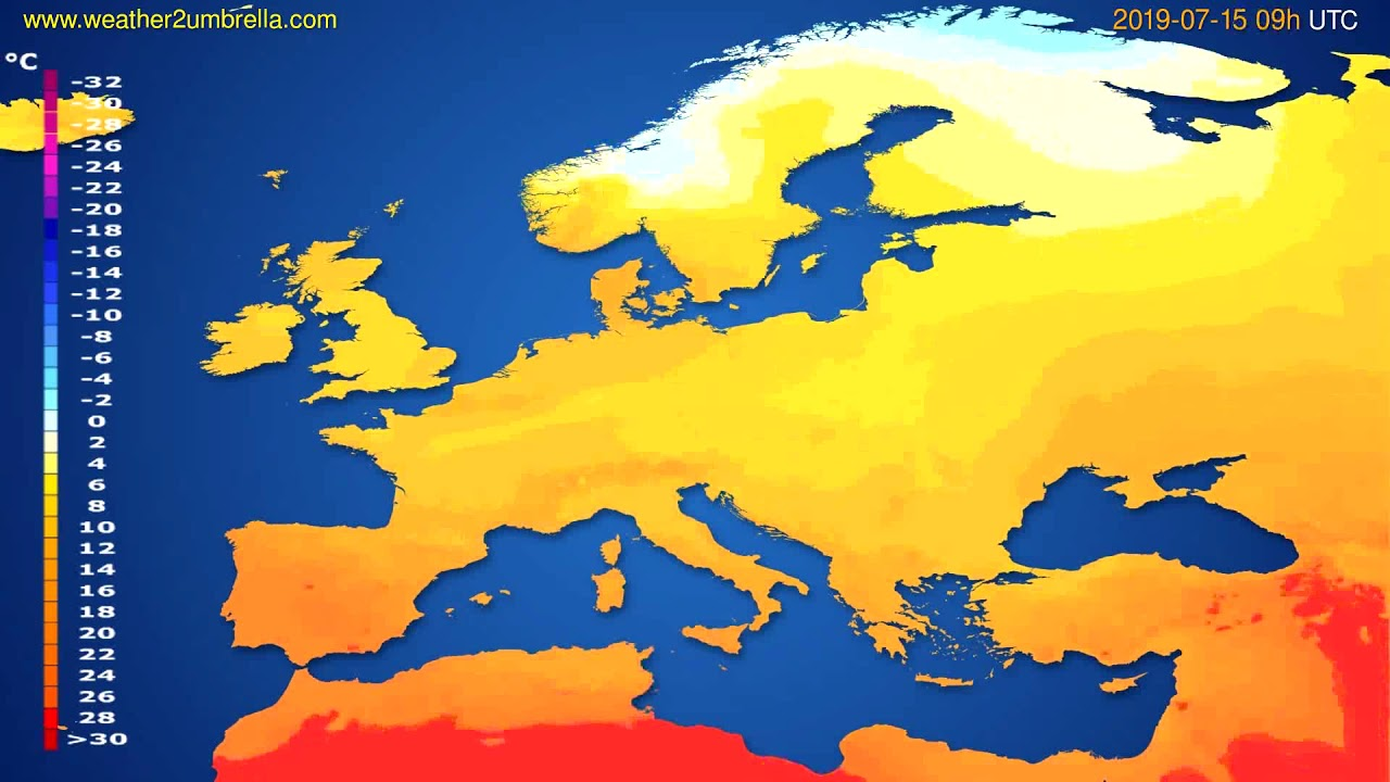 Temperature forecast Europe // modelrun: 00h UTC 2019-07-13