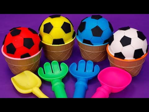 Play doh - Learn Colors with 4PlayDohinSoccerBall Cups The Soccer (Football) Song for KidsSurprise Egg