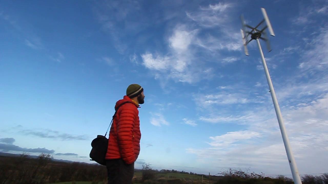 Vertical Axis Wind Turbine domestic installation Ireland 3kW nominal power, 5kW peak