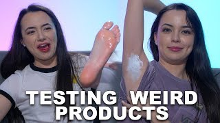 We tested some weird products! Some of them actually worked and some of them just... failed. Let us know if you would use these products!! Subscribe to Merrell Twins: http://bit.ly/2dSP9FgSubscribe to our OTHER CHANNELS!!!!!MERRELL TWINS LIVEhttp://bit.ly/2pYeuoSMORE MERRELLhttp://bit.ly/2rITMIfCheck Out Our Other Videos:REAL FOOD vs. GUMMYhttps://youtu.be/Ms17Nubnt7EOUR FIRST FIGHThttps://youtu.be/W8JfMOX7PfwWHAT's WORSE THAN THAThttps://youtu.be/mJ__BJdF3MUGet Merrell Twins Merch:https://www.districtlines.com/Merrell-TwinsSNAPCHAT: @merrelltwinsTWITTER: https://twitter.com/MerrellTwinsTWITTER: https://twitter.com/VanessaMerrellTWITTER:  https://twitter.com/veronicamerrellINSTAGRAM: http://instagram.com/merrelltwinsINSTAGRAM: http://instagram.com/vanessamerrellINSTAGRAM:http://instagram.com/veronicamerrellFACEBOOK: https://www.facebook.com/MerrellTwinsWEHEARTIT https://www.weheartit.com/merrelltwinswww.merrelltwins.com