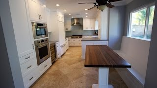 Tour of Design Build Transitional White Cabinets Kitchen Remodel in Lake Forest OC