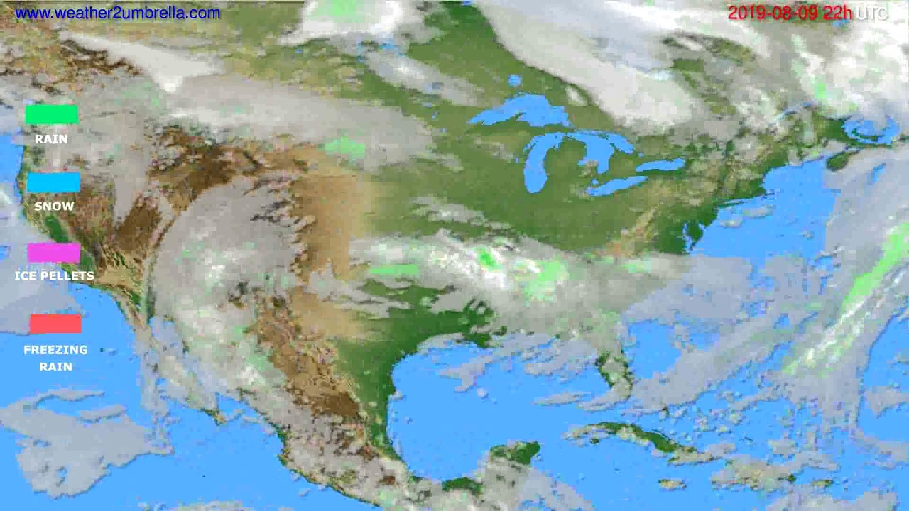 Precipitation forecast USA & Canada // modelrun: 12h UTC 2019-08-07
