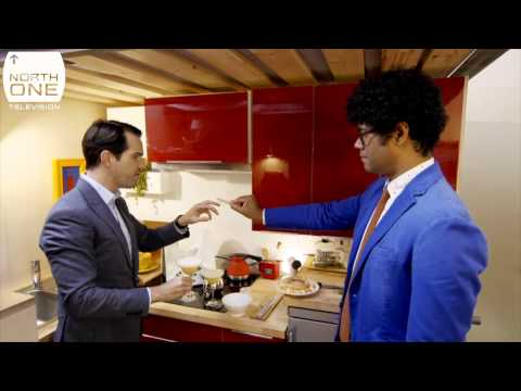 Richard Ayoade & Jimmy Carr in their tiny house