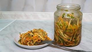 Закуска из овощей соломкой, вкусная лапша из кабачков