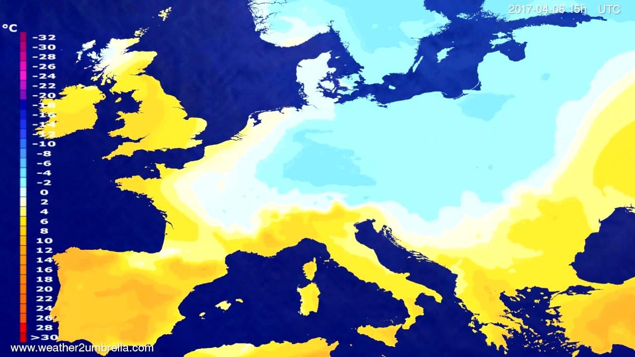 Temperature forecast Europe 2017-04-04