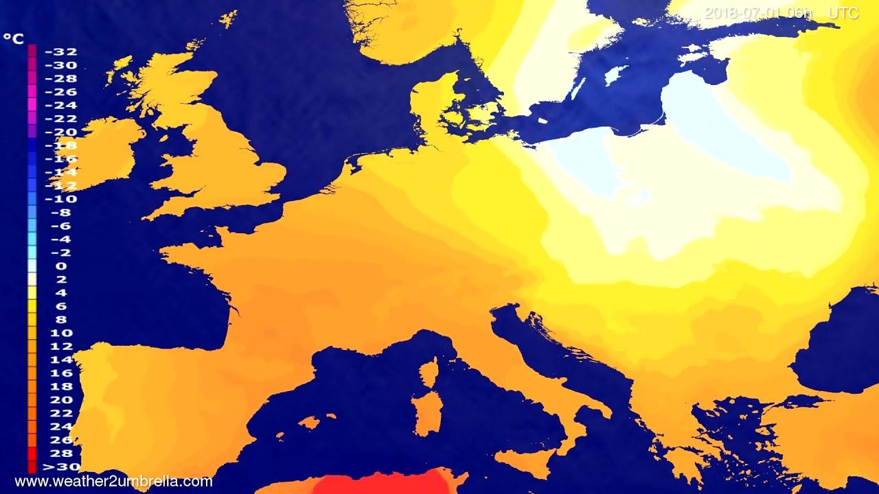 Temperature forecast Europe 2018-06-27