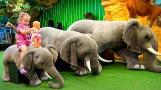 Funny Play Area with toy dinosaurs for children