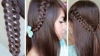 4-Strand Slide-Up Braid Hairstyle Hair Tutorial - YouTube