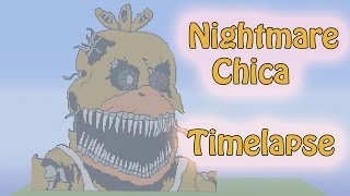 Minecraft Pixel Art Timelapse : Nightmare Chica (Five Nights at Freddy's 4)