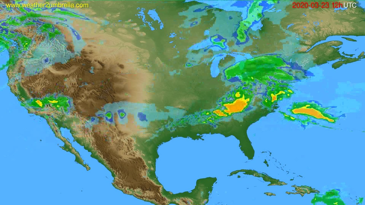 Radar forecast USA & Canada // modelrun: 00h UTC 2020-03-23