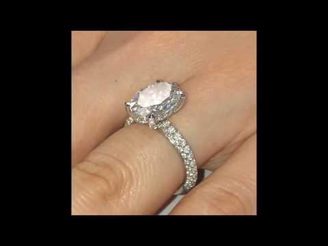 4 Carat Oval Diamond 3-Row Pave Engagement Ring