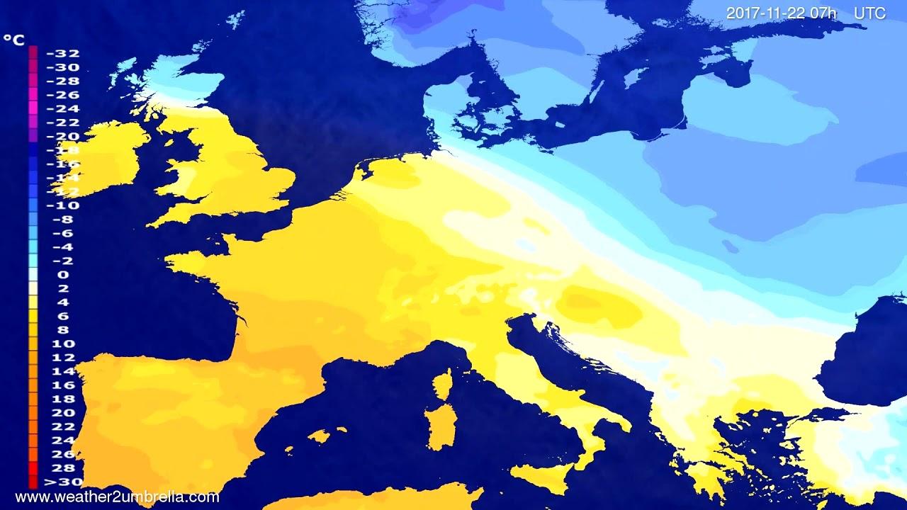 Temperature forecast Europe 2017-11-18