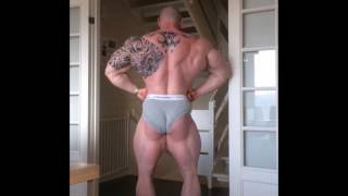 Norwegian heavyweight bodybuilder Ole Kristian Vaga off season posing