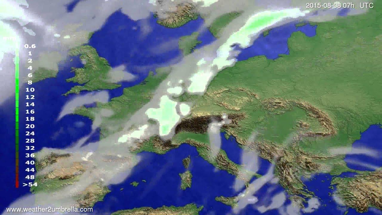 Precipitation forecast Europe 2015-08-05