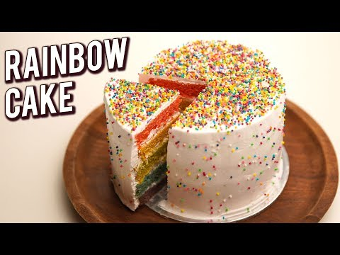 Rainbow Cake Recipe – How To Make Multi-Layered Rainbow Cake – Eggless Cake Recipe – Bhumika