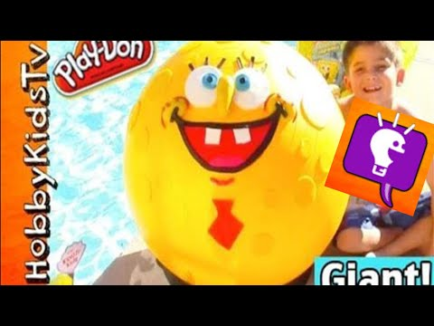 Mega GIANT SpongeBob Round Pants Play-Doh Head Surprise! Nickelodeon HobbyKidsTV