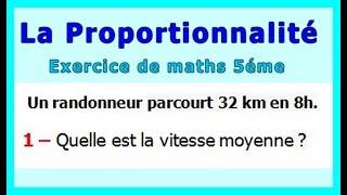 Maths 5ème - La proportionnalité la vitesse Exercice 4