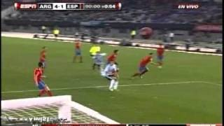 Gol Kun Aguero Argentina vs Spain 4 1 [07/09/10] AMISTOSO