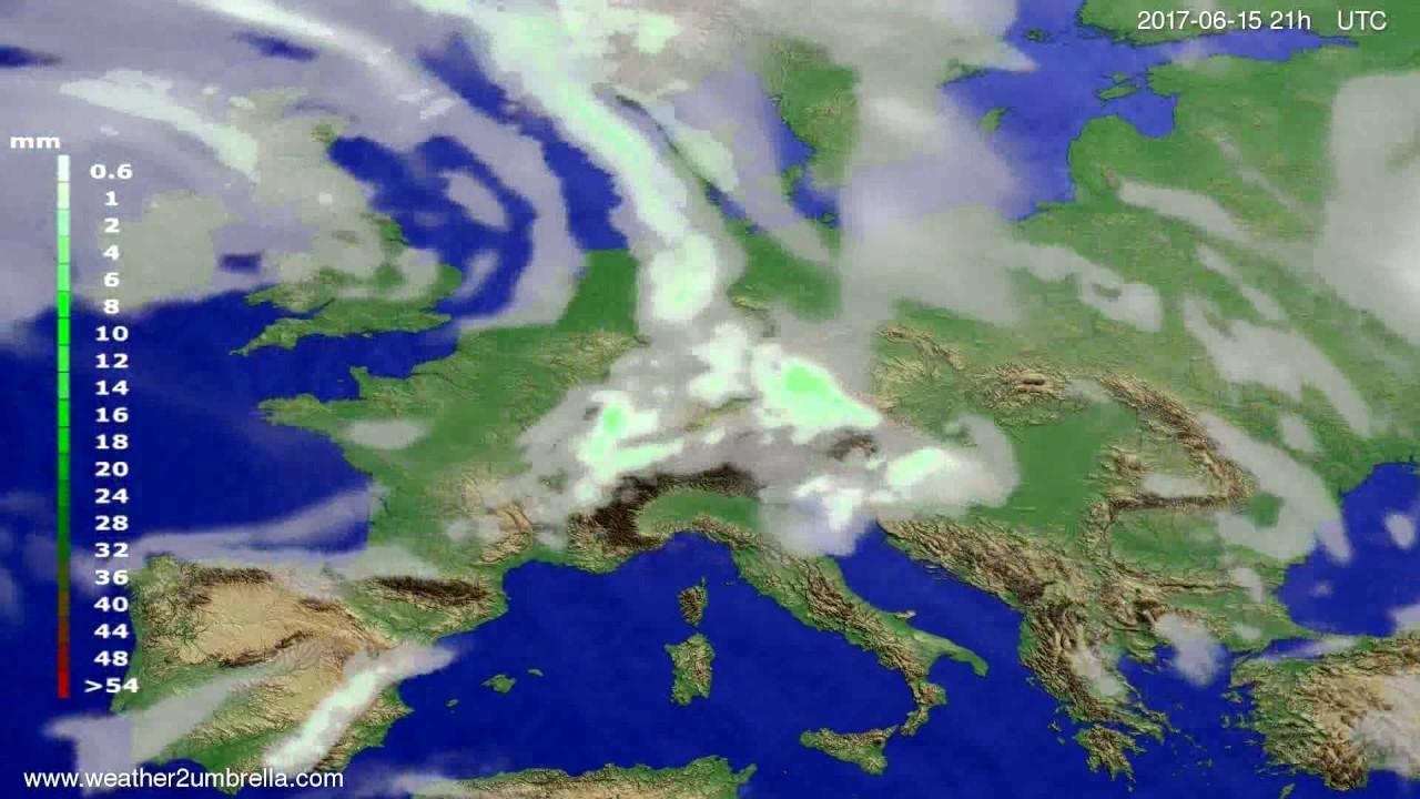 Precipitation forecast Europe 2017-06-12