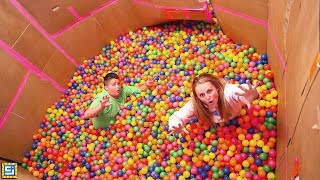 GIANT Ball Pit Balls Box Fort 24 Hours Surprise Mystery Room!