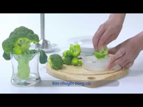Cháo cua với bột báng, bông cải