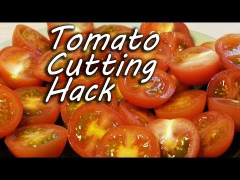 cut - How to cut tomatoes quickly and easily. Great cooking and kitchen tip, and a fun life hack. Perfect for small cherry tomatoes, and ideal if you need to cut a...