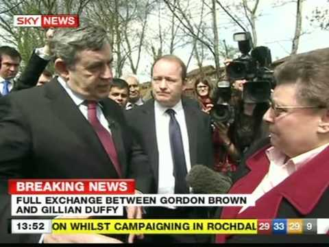 Gordon Brown - Gordon Brown and Gillian Duffy, who he was later heard off-camera describing her as a 'bigoted woman'.