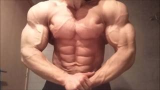 Italian bodybuilder flexing