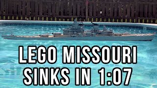 7' LEGO Model of the Battleship Missouri Sinking in my swimming pool.  Includes the most requested interior shot of the ship while sinkingSINKING  VIDEO 1:https://www.youtube.com/watch?v=82flnrR89N4SINKING  VIDEO 3:https://www.youtube.com/watch?v=xYTIS10TVbIWant to see a 3D LDD model of my ship?http://www.hagermanships.com/TIMELAPSE VIDEO:https://www.youtube.com/watch?v=NZ2c_AqUQGYIMGUR GALLERY:https://imgur.com/gallery/aZn5V