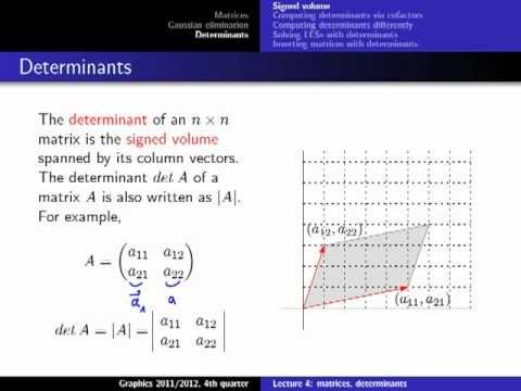Computer Graphics 2012, Lect. 4(2) - Matrices and Determinants