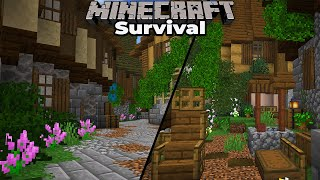 Minecraft 1.15 Survival - Building a Medieval City Marketplace AND Villager Trading Hall