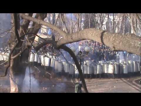 Бої у Маріїнському парку (Київ) 18.02.2014 (покращене відео) (видео)