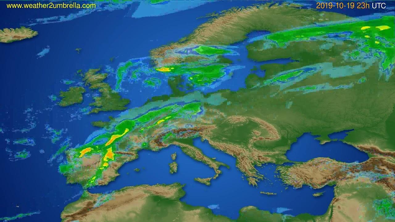 Radar forecast Europe // modelrun: 12h UTC 2019-10-19