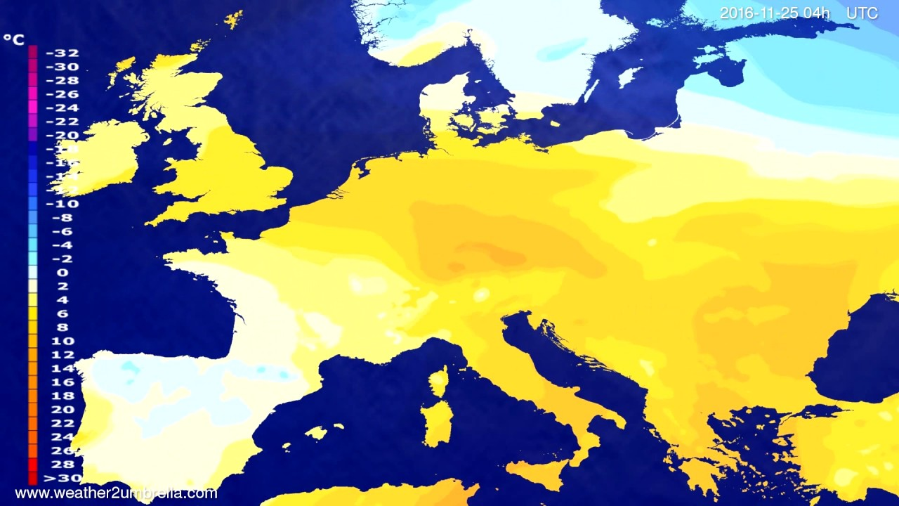 Temperature forecast Europe 2016-11-21