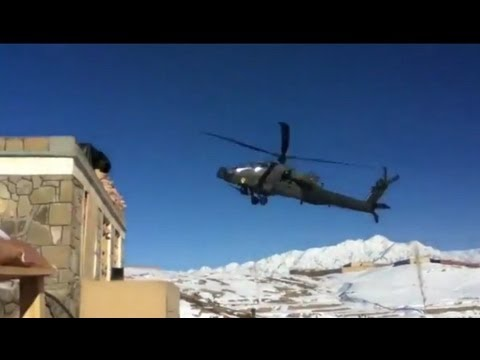 Apache hits ground hard and spins out of control