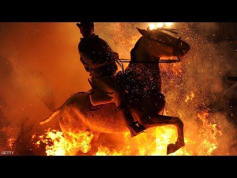 بالقفز فى النار اسبانيا تحتفل بالخيول وتحميها من الحسد