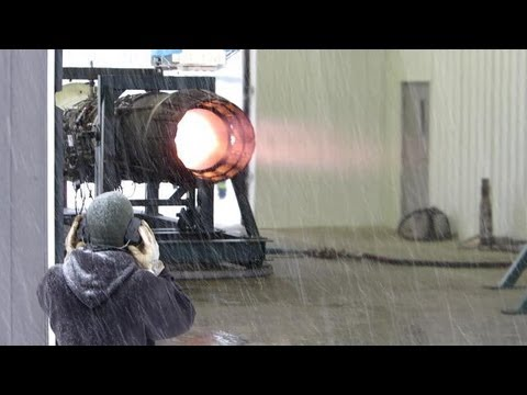Afterburning J79 test in the snow