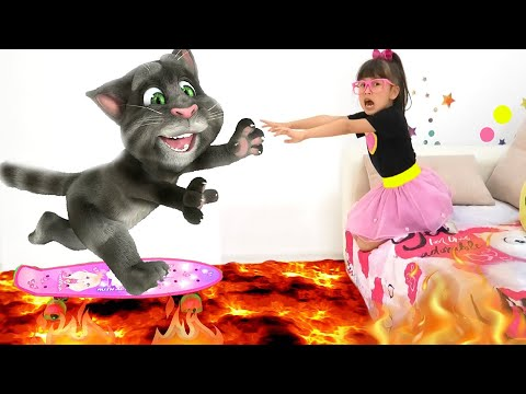The floor is lava challenge with Talking Tom and Abby Hatcher - Funny Pretend Play Kids Video