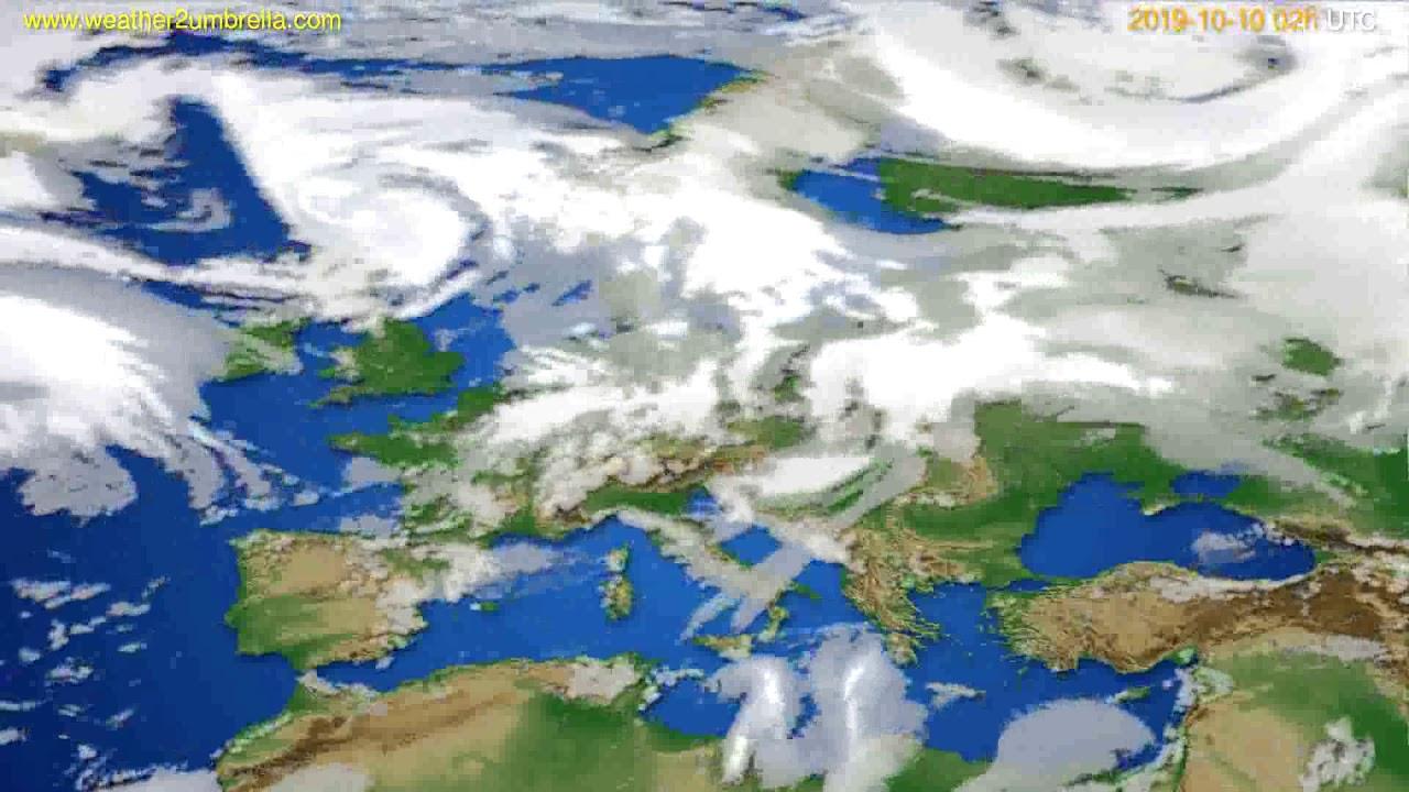 Cloud forecast Europe // modelrun: 00h UTC 2019-10-08