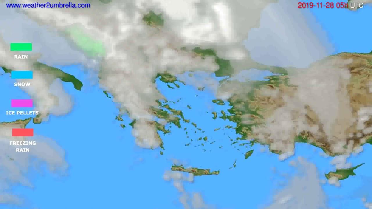 Precipitation forecast Greece // modelrun: 12h UTC 2019-11-26