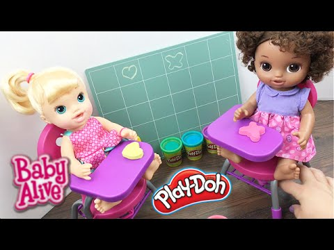 Baby Alive Doll Pre-School With My Life Desk, Sparkley Play Doh, And Chalk!