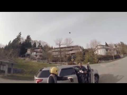 Cop almost causes major accident with Longboarders by cutting them off and almost sending them to hospital.