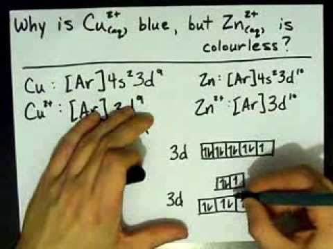 Why is Cu2+ blue, but Zn2+ is colourless?