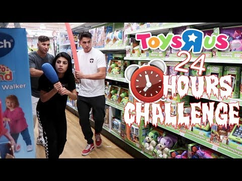 24 HOUR OVERNIGHT CHALLENGE AT TOYS R US (WE SET OFF THE ALARM!) (видео)