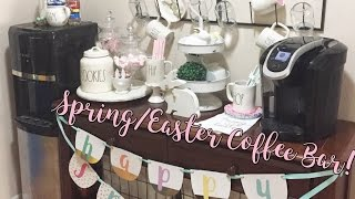 Here is my coffee bar all decked out for spring and Easter, most everything I purchased from hobby lobby, Walmart, & target! Check out that haul here➡️https://www.youtube.com/watch?v=VQyHlWFWvsYHave any questions? be sure to leave a comment!Follow me on IG @Karena_MyLife Thanks for watching!