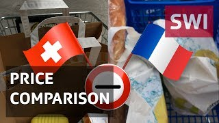 "Our snapshot comparison of a 14-item list of basic groceries has revealed a +€27.74 (CHF30.38) difference between Switzerland (COOP supermarket in Lausanne) and France (Carrefour supermarket in Ferney Voltaire, near Geneva). The Swiss basket of items was +91% more expensive. Our mini poll took place at the end of June.You can read more about these whopping consumer price differences and the issue of cross-border shopping in an article, ""What to do about Switzerland's eye-watering prices?"", to be found here: http://www.swissinfo.ch/eng/cross-border-shopping_what-to-do-about-switzerland-s-eye-watering-prices-/43314506---swissinfo.ch is the international branch of the Swiss Broadcasting Corporation (SBC). Its role is to report on Switzerland and to provide a Swiss perspective on international events.For more articles, interviews and videos visit swissinfo.ch or subscribe to our YouTube channel:  Website: http://www.swissinfo.chChannel: http://www.youtube.com/swissinfovideosSubscribe: http://www.youtube.com/subscription_center?add_user=swissinfovideos"