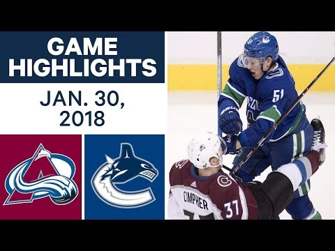 Video: NHL Game Highlights | Avalanche vs. Canucks - Jan. 30, 2018